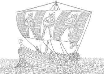 Stylized ancient greek galley (warship) with mast, sail, oars and warriors with spears and shields. Freehand sketch for adult anti stress coloring book page with doodle and zentangle elements.