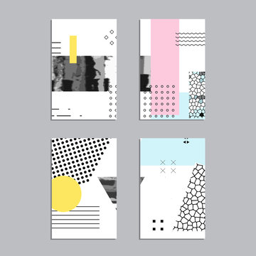 Artistic vector greeting cards design set. Colorful frame pattern texture, abstract template background for leaflet cover presentation, poster, invitation, placard, brochure, flyer, report, stationary