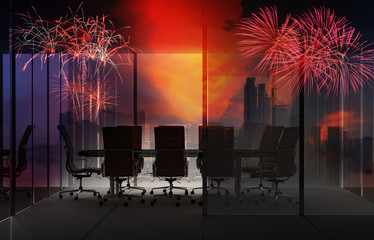 Fotomurales - modern empty office interior meeting room with city background for business concept