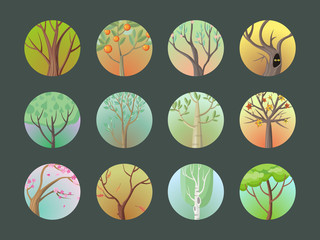 Vector Trees Set. Collection of Different Types