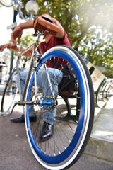 Closeup of bicycle wheel
