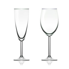 Transparent Empty Wine And Champagne Glass Isolated On White