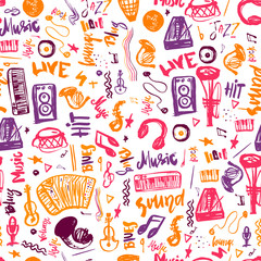 Music symbols funny hand drawn seamless pattern with   elemens and lettering.
