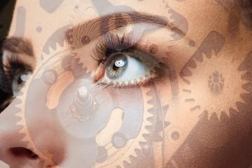 Photo of woman eye and clockwork. Double exposure