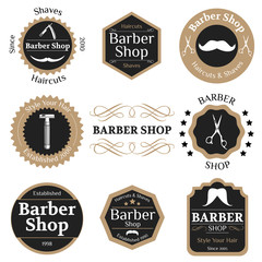 Set of vintage barber shop badges with typographics and design e