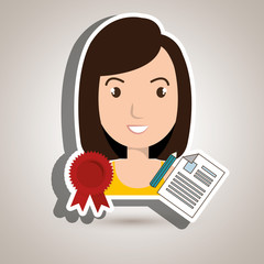 woman student medal ribbon vector illustration eps 10