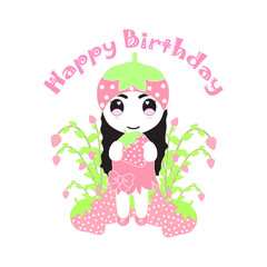 Birthday illustration with cute strawberry girl and strawberries tree suitable for birthday card invitation, postcard, and wallpaper
