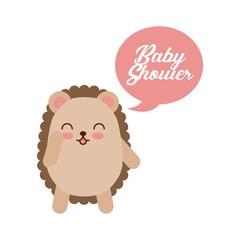 animal cute baby shower invitation vector illustration design