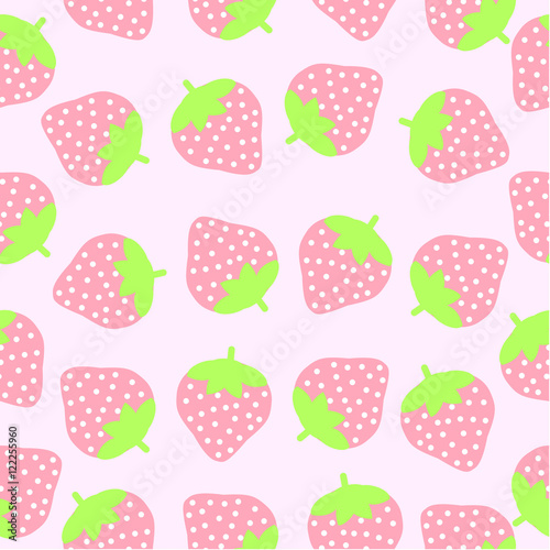 Seamless Background Of Summer Illustration With Cute Pink Strawberries On Suitable For Wallpaper
