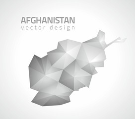 Afghanistan grey vector polygonal triangle modern map