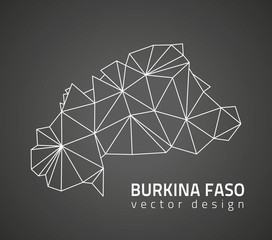 Burkina Faso dark mosaic vector contour map of Africa