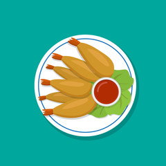 Top view, Fried prawn on white plate, vector