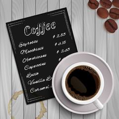 Hand drawn coffee menu and cup with realistic shadow on grey wooden background