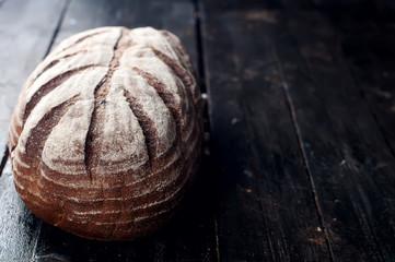 fresh bread on a black background