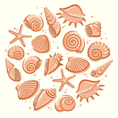 Seashells background. Vector