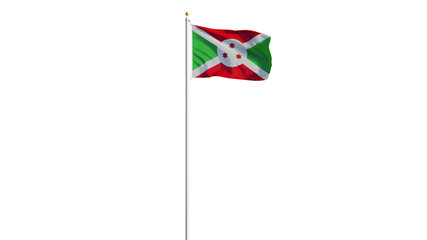 Burundi flag waving on white background, long shot, isolated with clipping path mask alpha channel transparency