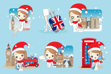 woman go travel in christmas
