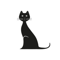 Vector black cat is sitting. Graphic image kitty. Vector illustration  kitten