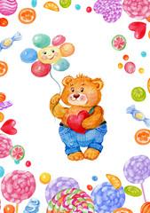открытка,милый медвежонок и конфеты,акварельная иллюстрация