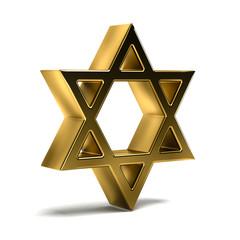 Golden David Star. Judaism Symbol. 3D Rendering Illustration