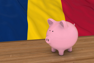 Chad Finance Concept - Piggybank in front of Chadian Flag 3D Illustration