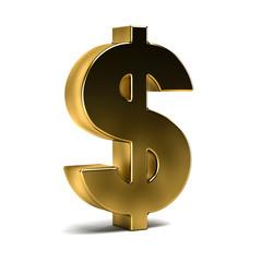 Golden Dollar Currency Sign. 3D Rendering Illustration