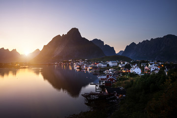 Garden Poster Scandinavia sunset time Reine Village, Lofoten Islands, Norway
