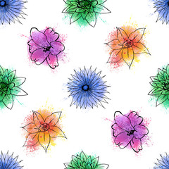 Seamless bakground pattern with hand drawn flowers on watercolor