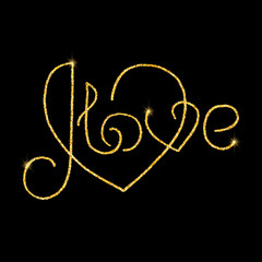 I love glitter golden hand lettering. Vector illustration for your design