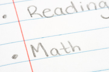 Close up on Reading and Math in notebook