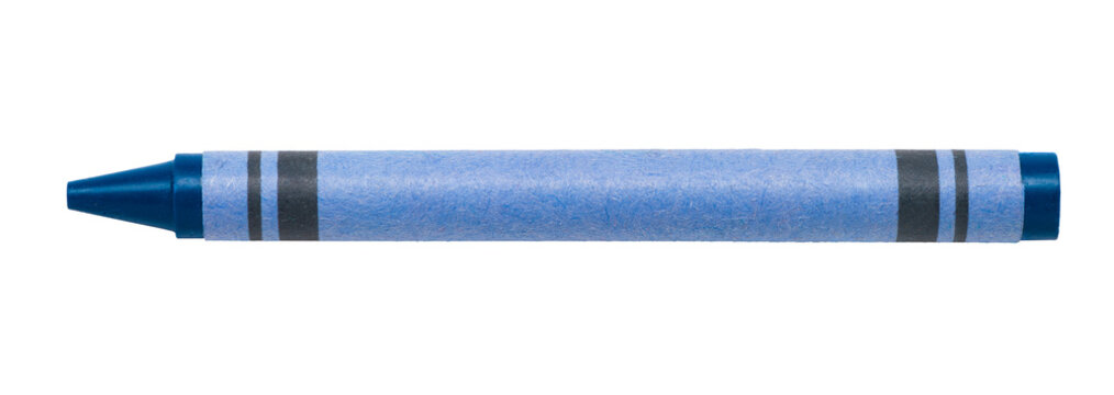 Blue wax children's crayon isolated on white background for use alone or as a design element