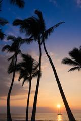 A sailboat at anchor at sunset along the coast of Kailua-Kona, Hawaii on the Big Island.