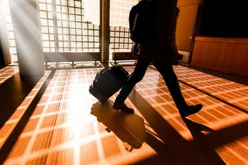 Traveler hurry through airport