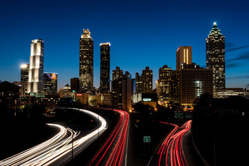 Downtown Atlanta at sunset with car lights