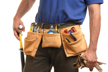Contractor carpenter construction worker man with toolbelt on wh