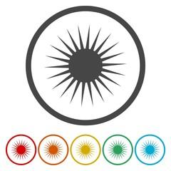 Sun icon set. Sun burst star logo icon