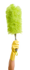 Woman with Feather Duster on White