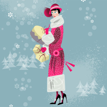Winter. Woman shopping. Retro style. Art deco.