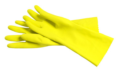 Rubber washing cleaning gloves on white Wall mural