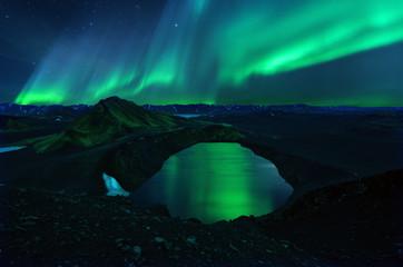 Tuinposter Noorderlicht Iceland Landmannalaugar