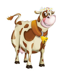 Cartoon happy cow with flower circlet - isolated - illustration for children