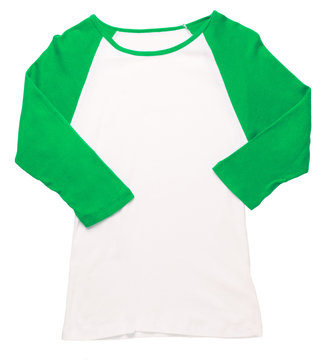 Women's green three-quarter sleeve baseball softball jersey t-shirt isolated on white background