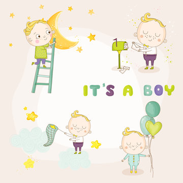 Set of Cute Baby Boy Illustrations - for Baby Shower or Arrival