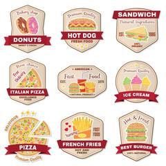 Set of vintage fast food badge, banner or logo emblem.