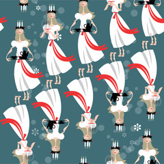 Saint Lucia Swedish Christmas tradition. St. Lucia's Day. Scandinavian Christmas.  Seamless background pattern.