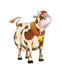 Cartoon cow standing - sleepy or sad - isolated - illustration for children