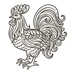 Vector, contour, Black and white illustration of a rooster, a bird, a symbol of the Chinese new year, sketch, hand-drawing, coloring page