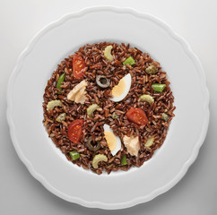 Red Rice of the Camargue salad with tuna  egg and vegetables