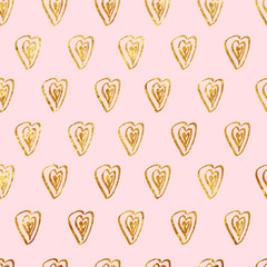Seamless pattern background with gold glitter hearts on pink bac