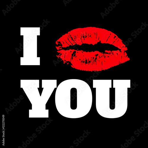 i love you text with red lips print on black backgroun stockfotos und lizenzfreie vektoren auf. Black Bedroom Furniture Sets. Home Design Ideas